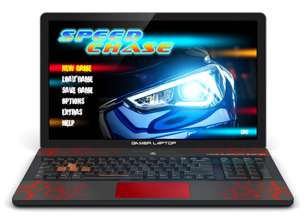 Creative abstract computer gaming and PC entertainment technology concept: 3D render illustration of modern black gamer laptop or notebook with auto car racing sport video game isolated on white background
