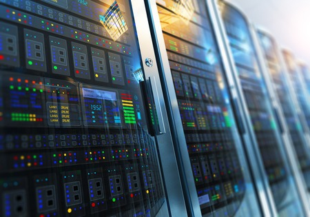 Modern web network and internet telecommunication technology, big data storage and cloud computing computer service business concept: 3D render illustration of the macro view of server room interior in datacenter with selective focus effect Stok Fotoğraf