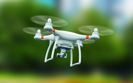 Creative abstract 3D render illustration of professional remote controlled wireless RC quadcopter drone with 4K video and photo camera for aerial photography flying in the air outdoors with selective focus effect Banco de Imagens