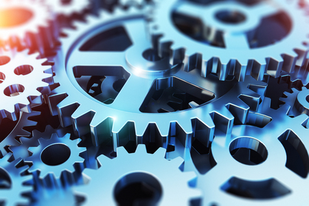Creative abstract 3D render illustration of the macro view of the set of metal shiny gears or cogwheels with selective focus effect