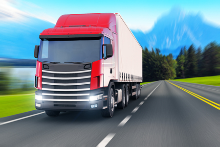 Creative abstract shipping industry, logistics transportation and cargo freight transport industrial business commercial concept: white semi-truck or container auto car trailer on road, way or highway with high speed motion blur effect