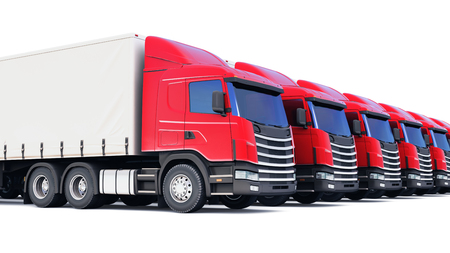 Shipping, logistics and delivery business commercial concept: 3D render illustration of the row of cargo trailer rucks isolated on white background
