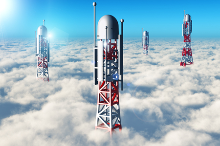 Creative abstract wireless communication technology business industry concept: 3D render illustration of the group of telecommunication mobile base station towers in the blue sky above the clouds