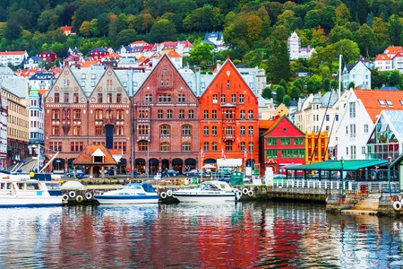 Scenic summer panorama of the Old Town pier architecture of Bryggen in Bergen, Norway Stock Photo