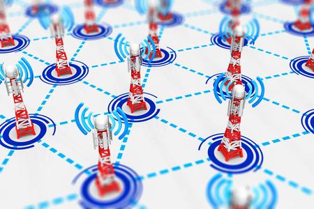 Concept d?industrie des technologies de communication sans fil abstraite créative: illustration de rendu 3D du groupe de tours de stations de base mobiles de télécommunication connectées à l?infrastructure de réseau Banque d'images