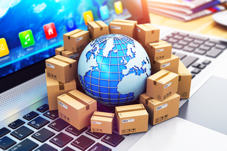 Creative abstract shipping, delivery and logistics technology business industrial concept: 3D render illustration of the macro view of heap of stacked corrugated cardboard package boxes and blue Earth globe with with world map on computer PC laptop notebook keyboard with selective focus effect Archivio Fotografico
