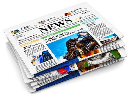 3D rendono l'illustrazione della pila di giornali con le notizie dal mondo degli affari isolate su fondo bianco