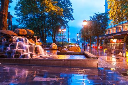 Scenic summer evening view of the city street in Bergen, Norway