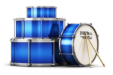 Creative abstract musical instrument concept: 3D render illustration of the blue drum set with pair of drumsticks isolated on white background Stock Photo