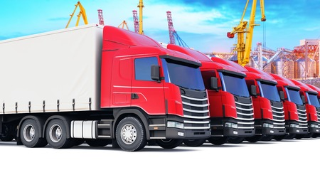 Shipping, logistics and delivery business commercial concept: 3D render illustration of the row of cargo trailer trucks at the sea port freight terminal with cranes