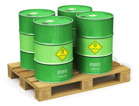 Creative abstract ecology, alternative sustainable energy and environment protection saving business concept: 3D render illustration of the group of green metal biofuel drums or biodiesel barrels on the wooden industrial shipping pallet isolated on white background