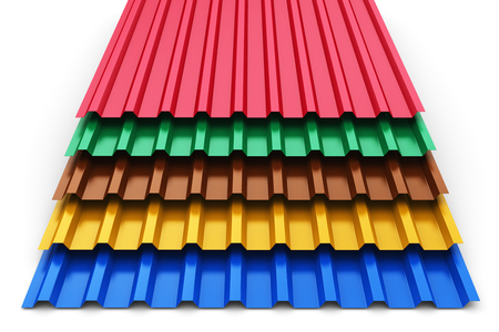 Creative abstract 3D render illustration of the stack or group of stacked color metal steel profile sheets for roof and roofing construction industry isolated on white background Stockfoto