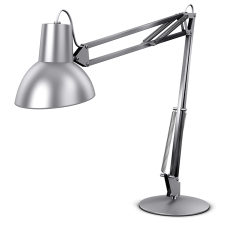 Creative abstract 3D render illustration of shiny metal steel home desk or office table desktop electric lamp light isolated on white background