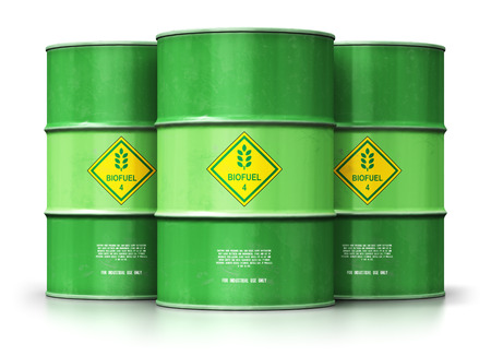 Creative abstract ecology, alternative sustainable energy and environment protection saving business concept: 3D render illustration of the group of green metal biofuel drums or biodiesel barrels isolated on white background with reflection effect