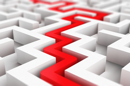 Creative abstract success, perspective vision, marketing, strategy, finding solution and motivation business communication concept: 3D render illustration of the red path across endless white labyrinth