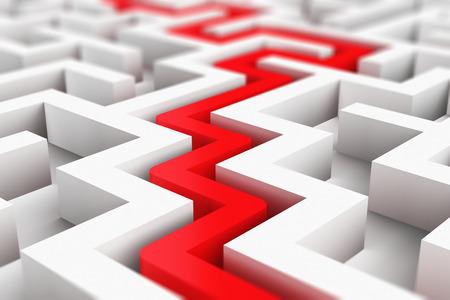 Successo astratto creativo, visione prospettica, marketing, strategia, trovare soluzioni e motivazione concetto di comunicazione aziendale: illustrazione rendering 3D del percorso rosso attraverso un labirinto bianco infinito