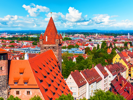 Scenic summer aerial panorama of the Old Town architecture in Nuremberg, Bavaria, Germany