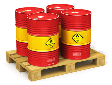 Creative abstract oil and gas industry manufacturing and trading business concept: 3D render illustration of the group of red metal oil drums or petroleum barrels on industrial wooden shipping pallet isolated on white background