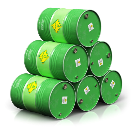 Creative abstract ecology, alternative sustainable energy and environment protection saving business concept: 3D render illustration of the group of green stacked metal biofuel drums or biodiesel barrels isolated on white background with reflection effect Banco de Imagens