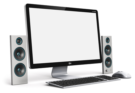 Creative abstract office business technology communication internet concept: 3D render illustration of the modern professional desktop computer PC workstation with blank screen or empty monitor, keyboard, mouse and miltimedia wireless sound audio stereo speakers isolated on white background 免版税图像