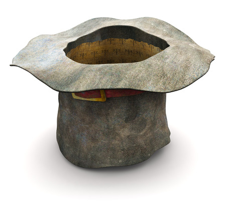 Creative abstract 3D render illustration of the old vintage crumpled beggar cylinder hat upset down isolated on white background