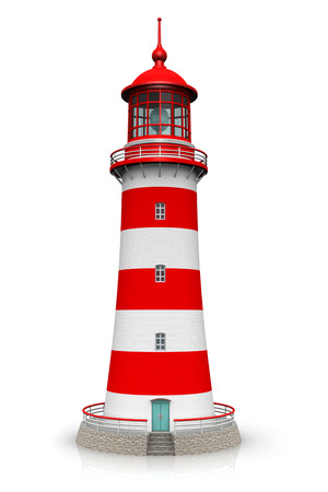 Creative abstract 3D render illustration of the red lighthouse isolated on white background with reflection effect