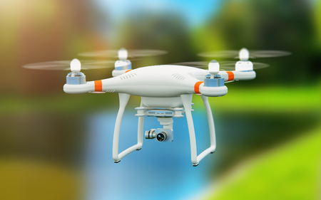 Creative abstract 3D render illustration of professional remote controlled wireless RC quadcopter drone with 4K video and photo camera for aerial photography flying in the air outdoors with selective focus effect Stock Photo