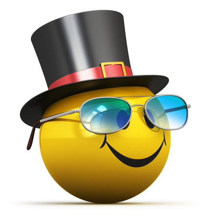 Creative abstract good mood, fun emotion and positive feeling expression concept: 3D render illustration of happy yellow smiley emoji emoticon ball face with smile in black hat and blue fashionable eyeglasses isolated on white background