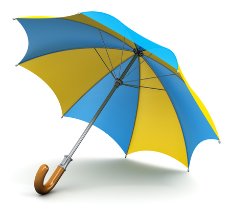 Creative abstract 3D render illustration of the blue and yellow umbrella or parasol with wooden handle isolated on white background Stock Photo