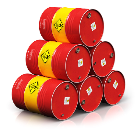 Creative abstract oil and gas industry manufacturing and trading business concept: 3D render illustration of the group of red stacked metal oil drums or petroleum barrels isolated on white background with reflection effect Stock Photo
