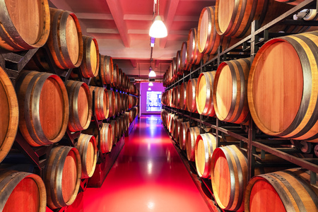 Old cellar winery interior with big wooden wine barrels Stock Photo