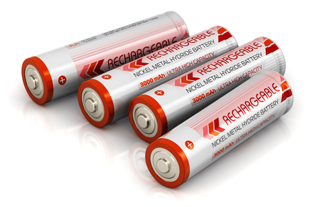 Creative abstract 3D render illustration of the group of four color AA type size batteries isolated on white background with reflection effect