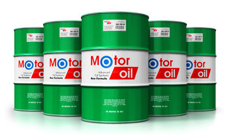Creative abstract automotive industry and auto repair service and maintenance concept: 3D render illustration of the group of green metal drum canisters or barrel containers with car motor engine liquid synthetic oil lubricant isolated on white background with reflection effect Standard-Bild