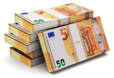 Creative abstract banking, money making and business success financial concept: 3D render illustration of the heap of stacks of 50 Euro banknotes isolated on white background