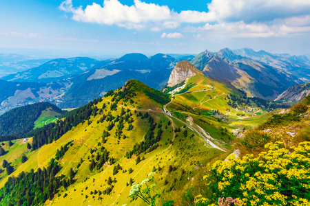 Scenic summer panorama from Rochers de Naye mountain peak with green grassy hills and flower meadows in Alps, Switzerland Imagens