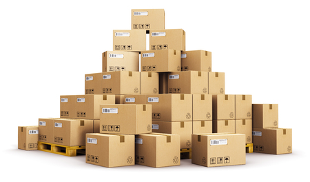 Creative abstract cargo, delivery and transportation logistics storage warehouse industry business concept: 3D render illustration of the group or pile of stacked corrugated cardboard boxes on wooden shipping pallets isolated on white background Banco de Imagens
