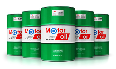 Creative abstract automotive industry and auto repair service and maintenance concept: 3D render illustration of the group of green metal drum canisters or barrel containers with car motor engine liquid synthetic oil lubricant isolated on white background with reflection effect Stockfoto