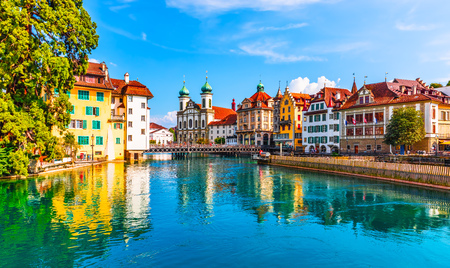 Scenic summer aerial panorama of the Old Town medieval architecture in Lucerne, Switzerland Stockfoto