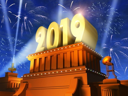Creative abstract New Year 2019 celebration concept: 3D render illustration of the shiny golden 2019 text on pedestal at night with fireworks in cinema style