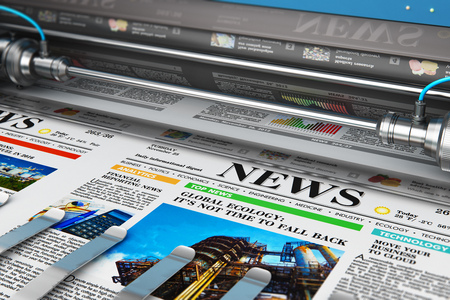 3D render illustration of printing color daily business newspapers or news papers on the offset print machine in typography