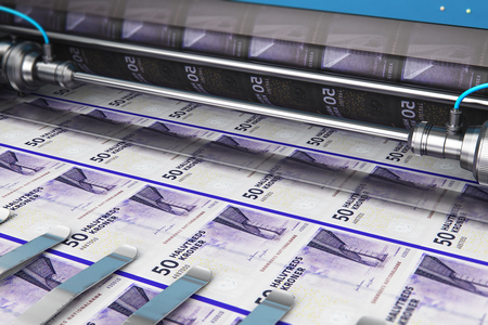 Business success, finance, banking, accounting and making money concept: 3D render illustration of printing 50 DK Danish krona money paper cash banknotes on print machine in typography