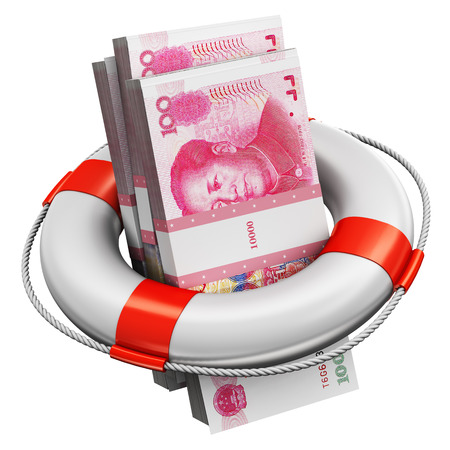 Creative abstract banking, accounting finance investment risk and financial success development and growth concept: 3D render illustration of the bundles of 100 Chinese yuan paper money banknotes in the inflatable ring lifesaver belt or buoy isolated on white background Stockfoto