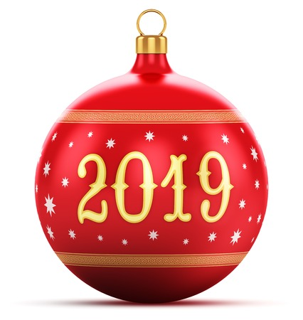 Creative abstract New Year 2019 holiday and Xmas celebration concept: 3D render illustration of red color shiny metallic glass Christmas ball with colorful star decoration ornament design isolated on white background