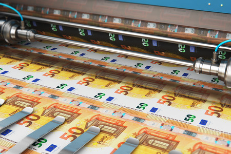Business success, finance, banking, accounting and making money concept: 3D render illustration of printing 50 Euro money paper cash banknotes on print machine in typography 스톡 콘텐츠