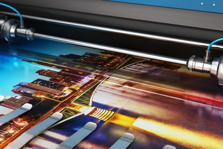 Ilustración de render 3D de impresión de banner fotográfico en plotter de color de gran formato en tipografía o imprenta imprenta
