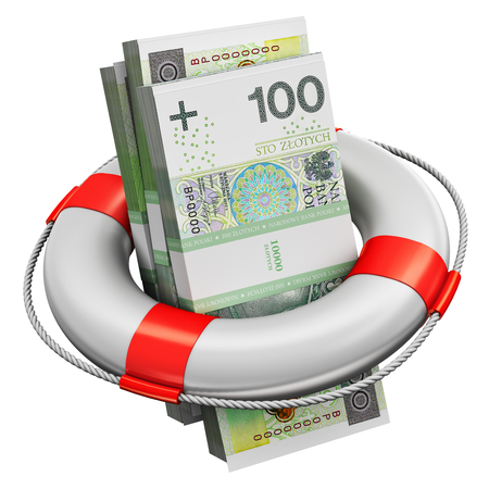 Creative abstract banking, accounting finance investment risk and financial success development and growth concept: 3D render illustration of the bundles of 100 Polish zloty paper money banknotes in the inflatable ring lifesaver belt or buoy isolated on white background
