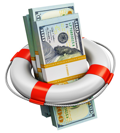Creative abstract banking, accounting finance investment risk and financial success development and growth concept: 3D render illustration of the bundles of 100 US dollar paper money banknotes in the inflatable ring lifesaver belt or buoy isolated on white background 스톡 콘텐츠