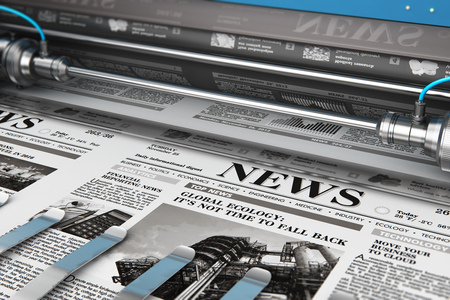 3D render illustration of printing black and white daily business newspapers or news papers on the offset print machine in typography