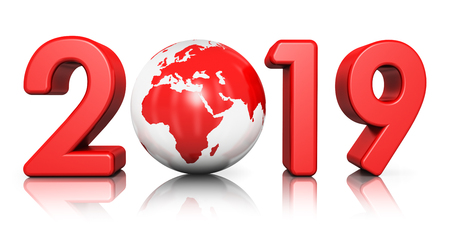 3D render illustration of creative abstract New Year 2019 holiday beginning celebration concept with red glossy Earth globe isolated on white background with reflection effect