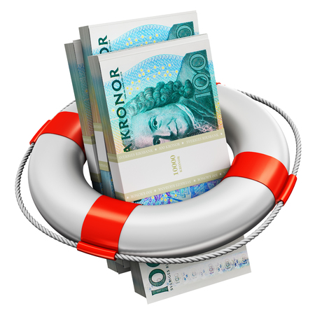 Creative abstract banking, accounting finance investment risk and financial success development and growth concept: 3D render illustration of the bundles of 100 Swedish krona paper money banknotes in the inflatable ring lifesaver belt or buoy isolated on white background